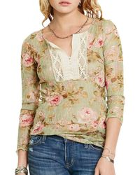 Denim & Supply Ralph Lauren - Floral Print Crochet Bib Henley - Lyst