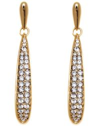Peermont - Gold And Clear Crystal Drop Earrings - Lyst
