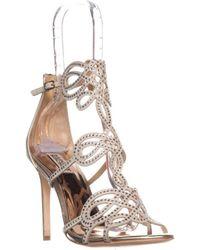 Badgley Mischka - Teri Rhinestone T-strap Sandals, Platino - Lyst