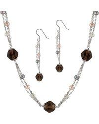 Splendid - Smokey Quartz Pearl Necklace & Earring Set - Lyst