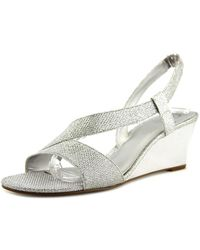 Adrianna Papell - Alex Women Open Toe Synthetic Silver Wedge Heel - Lyst