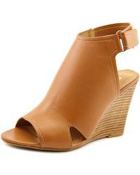 Report - Columba Women Open Toe Synthetic Tan Wedge Sandal - Lyst