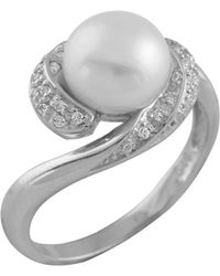 Splendid - Fancy Cz Half Halo Pearl Ring Set In Sterling Silver - Lyst