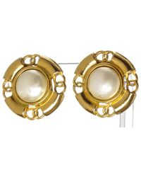 Chanel - Pre Owned - Goldfaux Pearl Clip On Earrings - Lyst