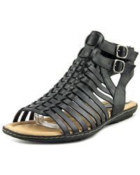 Earth - Sky Women Open Toe Leather Black Gladiator Sandal - Lyst