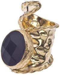 Jewelista - 18k Gold Plate Adjustable Onyx Ring - Lyst