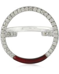 Socheec - Round Diamond And Enamel Ring In White Gold - Lyst