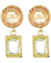 Adornia - Yellow Gold Vermeil And Swarovski Crystal Dangle Earrings - Lyst