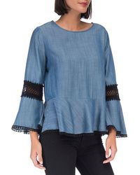 B Collection By Bobeau - Aine Blouse (medium Wash Blue) Women's Blouse - Lyst