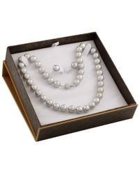 Splendid - 2 Piece Grey Freshwater Pearl Set With Matching Necklace And Studs - Lyst