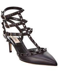 ed56afbc5e95 Lyst - Valentino Rockstud 100 Leather Ankle Strap Pump in Black
