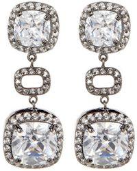 Adornia - Rhodium Plated Brass And Swarovski Crystal Cushion Drop Earrings - Lyst