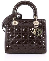 Dior - Pre Owned Lady Dior Handbag Cannage Quilt Patent Medium - Lyst