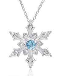 Amanda Rose Collection - 1/2ct Tw Swiss Blue And White Topaz Snowflake Pendant In Sterling Silver - Lyst