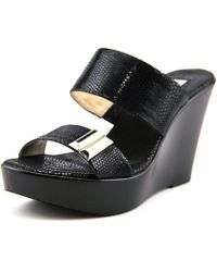 c9a36ccc1b6d INC International Concepts - Pandeh Women Open Toe Canvas Black Wedge Sandal  - Lyst