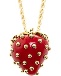 Kenneth Jay Lane - Strawberry 33in Pendant, Beige - Lyst
