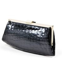 Sonia Rykiel - 1 Black Silver Tone Crocodile Embossed Patent Leather Frame Clutch - Lyst