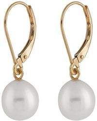 Splendid - 7mm Pearl & Yellow Gold Leverbacks - Lyst