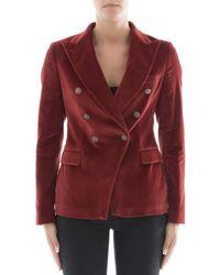 Tagliatore - Women's Red Cotton Blazer - Lyst