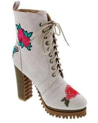 Penny Loves Kenny - Women's Frank Floral Patch Combat Boot - Lyst