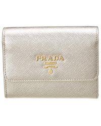 f799d3b0e12a Lyst - Prada Saffiano Metallic Leather Card Holder in Blue