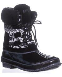 a0fae43b160 Lyst - Khombu Copper Faux Fur Trimmed Boot in Black