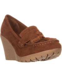 MIA - Vickie Wedge Loafers, Rust - Lyst