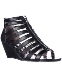 Material Girl - Mg35 Strappy Wedge Zip-up Sandals, Black - Lyst
