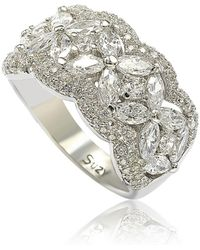 Suzy Levian - Sterling Silver White Cubic Zirconia Flower Ring - Lyst