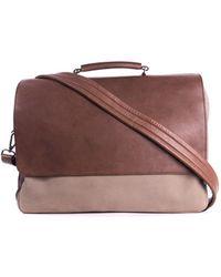 Brunello Cucinelli - Mens Two Tone Brown Double Zip Messenger Bag - Lyst