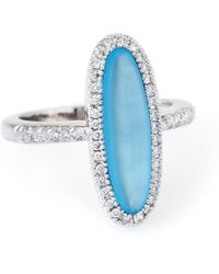 Unbranded - Pre Owned Frosted Blue Topaz Diamond Oval Cocktail Ring Estate 14 Karat White Gold - Lyst