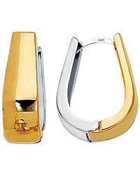 Jewelry Affairs - 14k 2 Tone Gold Snuggable Huggie Reversible Earrings - Lyst