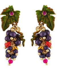 Les Nereides - Royal Gardens Bunch Of Grapes And Leaf Clip Earrings - Lyst