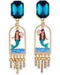 Les Nereides - I Am A Mermaid Litlle Mermaid And Green Stone Earrings - Lyst