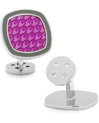 Ravi Ratan - Palladium Purple And Grey Houndstooth Cufflinks - Lyst