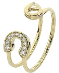 Adornia - Diamond And 14k Yellow Gold Wrap Safety Pin Ring - Lyst