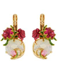 Les Nereides - Balad In Versailles Stone And Rose And Bud French Hook Earrings - Lyst