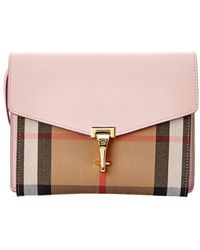 Burberry - Small Grain Leather And Check Macken Bag - Lyst
