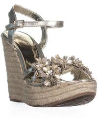Carlos By Carlos Santana - Belinda Platform Wedge Sandals, Platino - Lyst