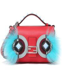 e604df628f Fendi - Women s Blue red Leather Shoulder Bag - Lyst