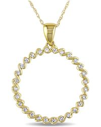 Catherine Malandrino - Diamond Circle Pendant With Chain - Lyst