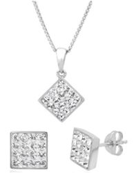 Amanda Rose Collection - Sterling Silver Crystal Pendant With Matching Earrings Made With Swarovski Crystals - Lyst