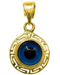 Jewelry Affairs - Greek Key Theme Double Sided Evil Eye Pendant In Sterling Silver 18 Karat Gold Overlay - Lyst