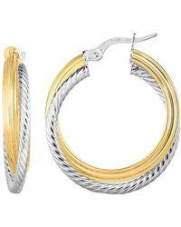 JewelryAffairs   14k Gold Yellow And White Finish Hoop Fancy Earrings, Diameter 20mm   Lyst