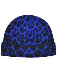 Roberto Cavalli - Womens Blue Black Wool Blend Cheetah Hat - Lyst