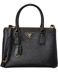 a8705297cd64 Lyst - Prada Galleria City Calf Leather Double Handle Tote in Black