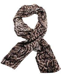 Roberto Cavalli - Silk Scarf Patterned Scarf, White Black Print Details - Lyst
