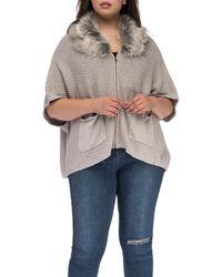 Bobeau - Carlie Caridigan With Faux Fur Collar - Lyst
