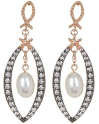 Adornia - Sterling Silver And Swarovski Crystal Open Marquis Earrings With Freshwater Pearl - Lyst