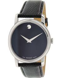 Movado - Men's Museum 2100002 Black Leather Swiss Quartz Fashion Watch - Lyst